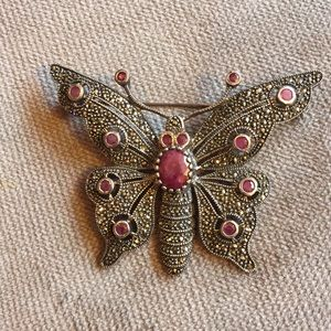 Jewelry - Sterling marcasite and Ruby butterfly pin